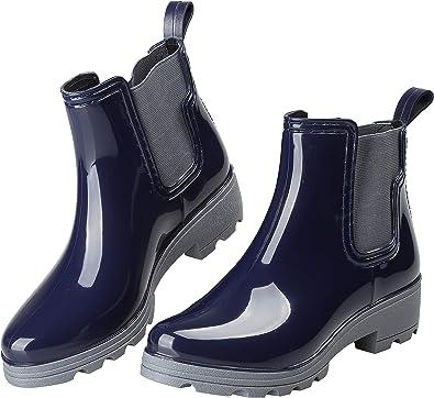 Amazon Com Eyushijia Women S Short Rain Boots Waterproof Slip On Ankle Chelsea Booties Rain Footwear