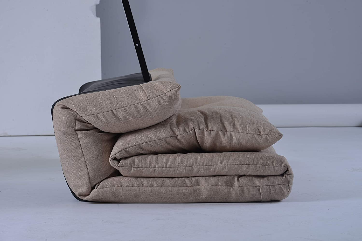 Love seat MIERES Adjustable Floor Couch and Sofa for Living Room and Bedroom Beige Foldable with 5 Reclining Position