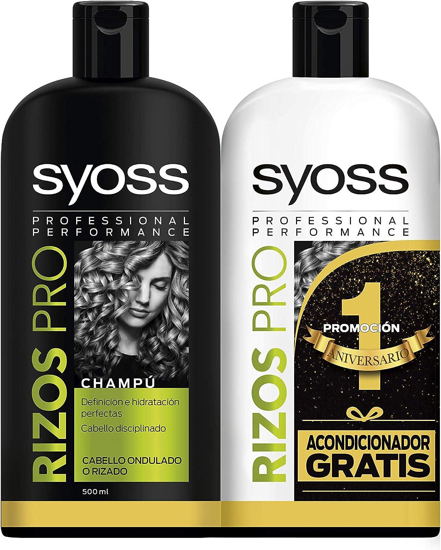 Syoss Champú + Acondicionador Rizos Pro, 500 ml + 500 ml, Pack de 1