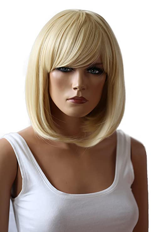 PRETTYSHOP Peluca de pelo corto peluca de Bob calor fibras sintéticas resistentes platino rubio # T1025