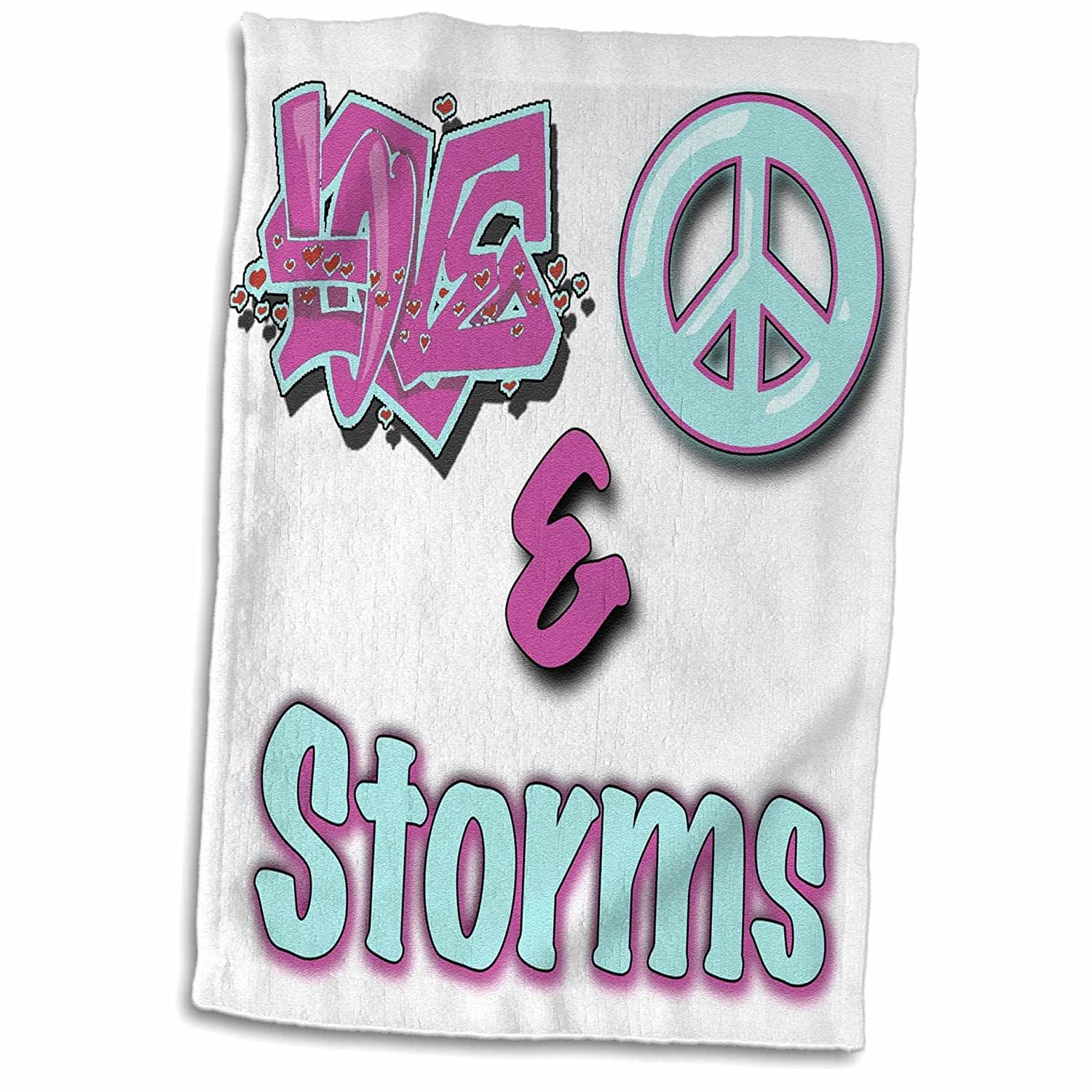 3D Rose Love Peace and Storms Pastel Blue and Purple Hand//Sports Towel 15 x 22 Multicolor