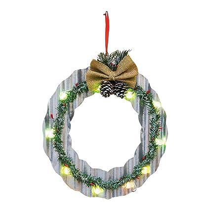 Amazon.com: Christmas Wreath Pine Cone 14 Inch Light Up Metal Door ...