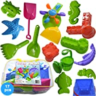Sand Bucket 17 Elements, Molds & Tools for Sand Boxes, Water Tables, Beach, Bath Tub, Pool or Kinetic Sand Toys For Baby, Kids and Toddler. Zippered Carring Bag
