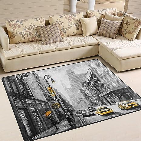 Naanle - Alfombra Antideslizante para salón, Comedor, Dormitorio, Cocina, 50 x 80 cm, diseño de Calle York, 150 x 200 cm(5 x 7)