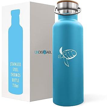 CARETTA | Botella de Agua Reutilizable Acero Inoxidable | Financia eliminación de plástico de los océanos | Cantimplora aislamento al vacio sin BPA ...