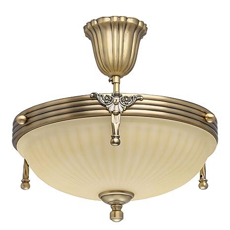 Lámpara de techo de diseño clásico de metal, color latón, Cristal, 3 bombillas, 32 cm de diámetro, solo E14 3 de 60 W 230 V