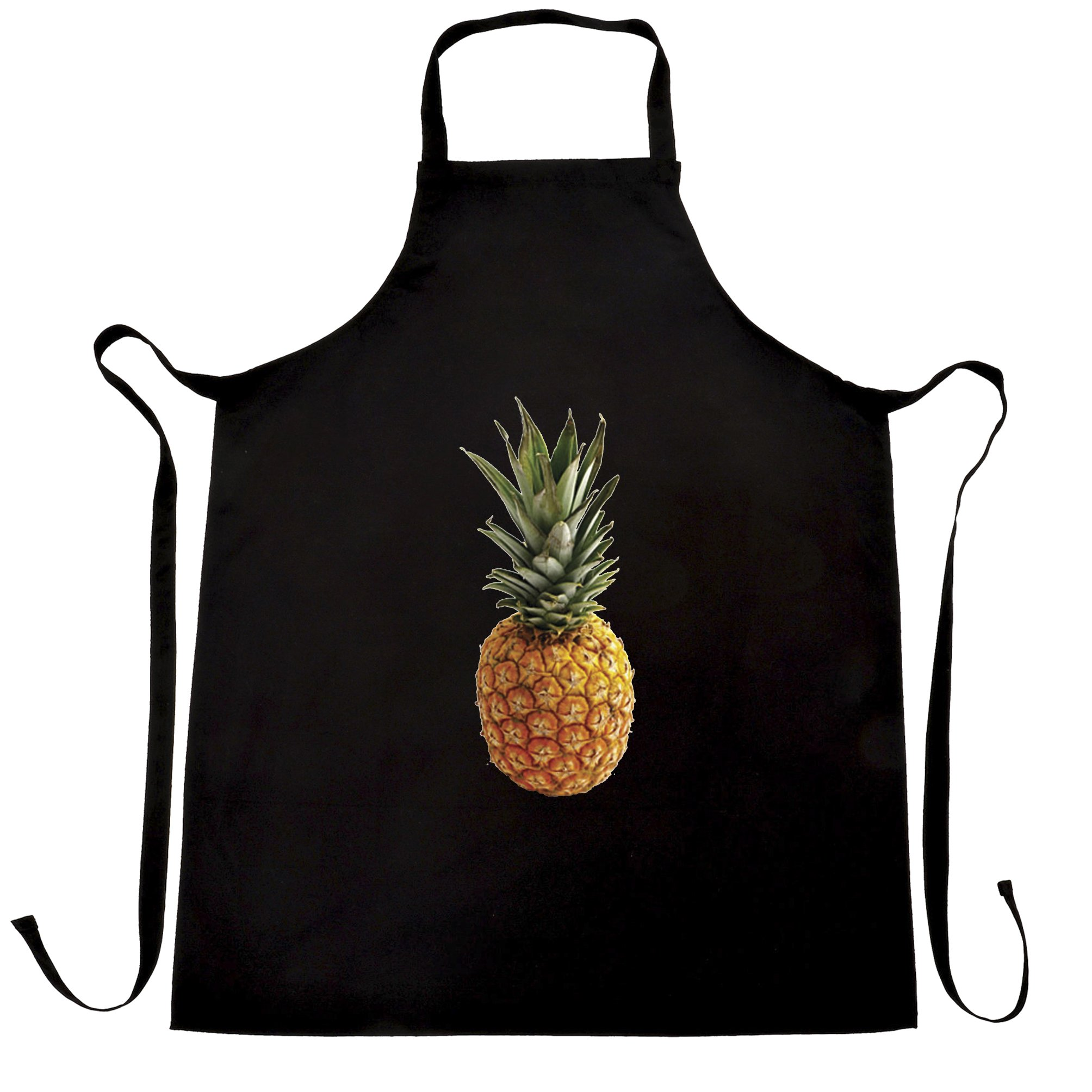 Trendy Summer Chefs Apron Pineapple Fruit Photograph Black One Size