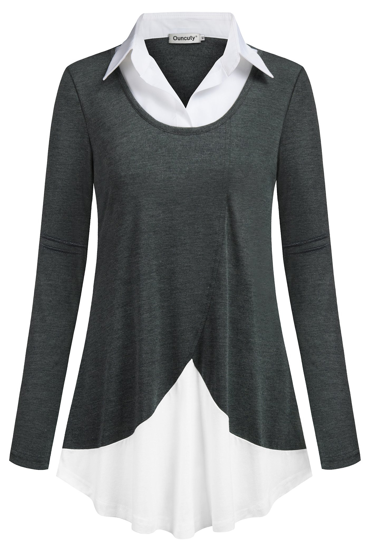 Ouncuty Business Casual Blouse for Women, Ladies OL Decent Button Down Patchwork Neck Long Sleeves Ruffled Stretchy Hem Lightweight Fit and Flare Flow 2 in 1 Pullover Tops for Meetting Outdoor Grey L