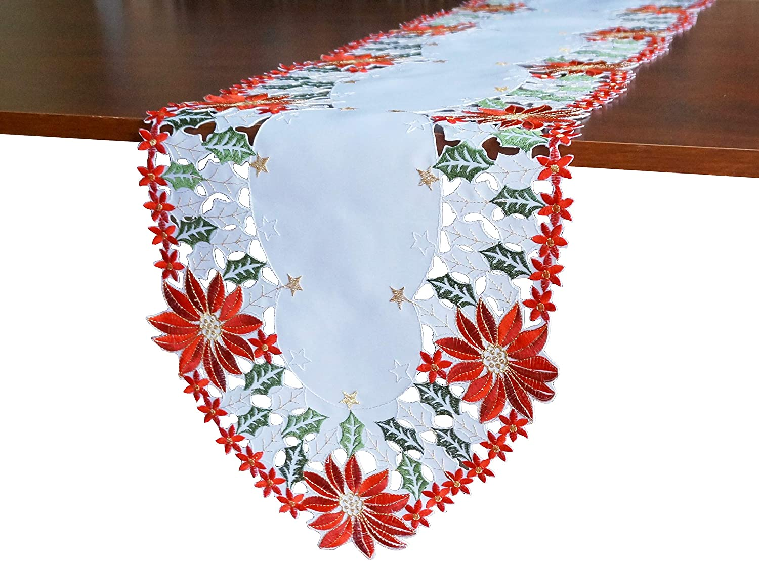 "GRANDDECO Holiday Christmas Table Runner, Cutwork Embroidered Floral Christmas Flower Dresser Scarf Table Topper for Home Dining Xmas Table Top Decoration,Runner 13""x68"""
