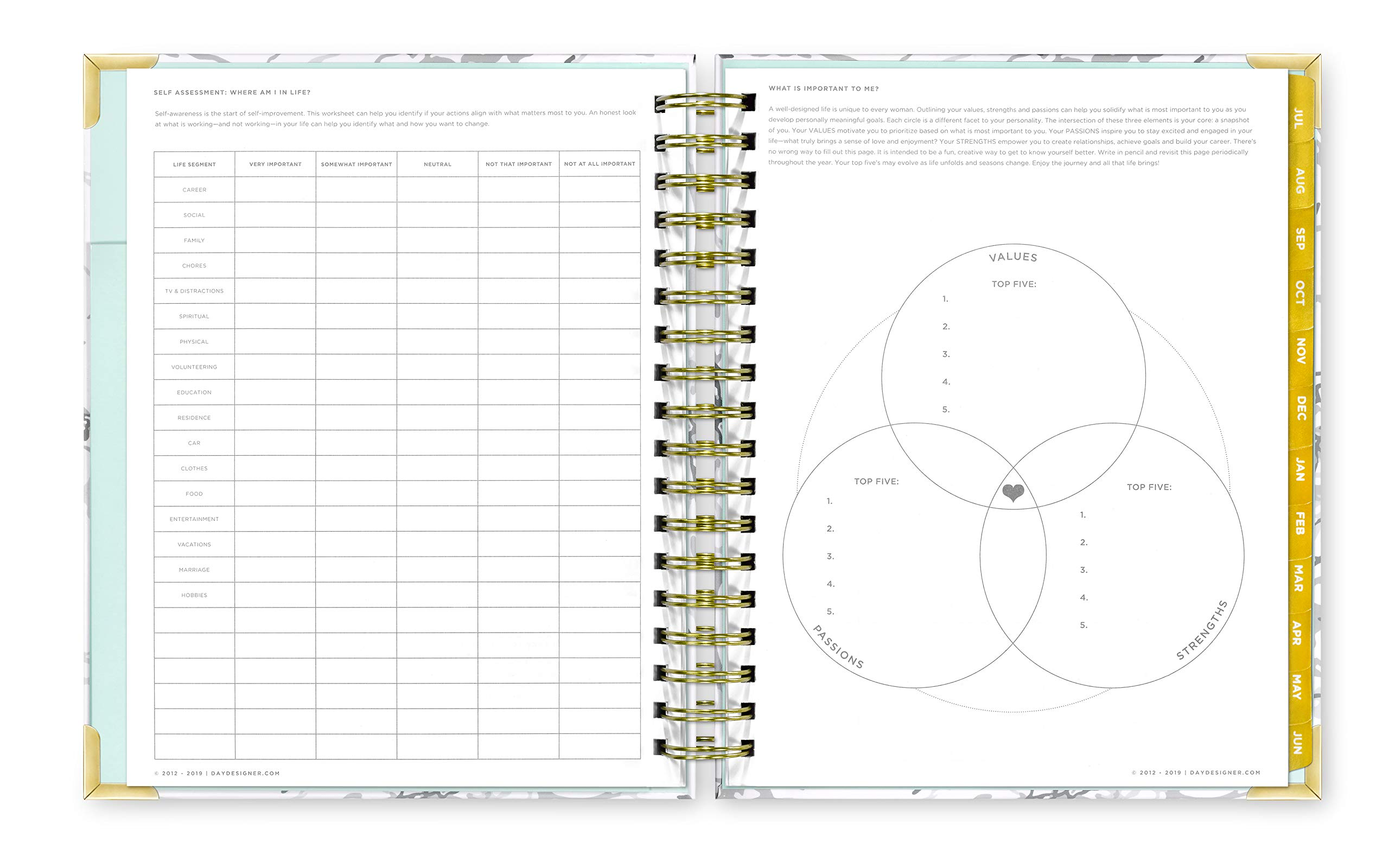 Day Designer 2019-2020 Daily Life Planner and Agenda, Hardcover, Twin-Wire Binding, 9'' x 9.75'', White Marble by Day Designer (Image #5)