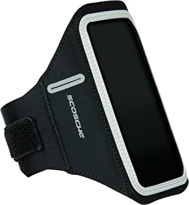 SCOSCHE SoundKase Ultra-Light Sport Armband Cell Phone Case for Universal Smartphones - Running Armband for iPhone 6S/6, iPhone SE/5S/5C/5, Samsung Galaxy S6/S6 Edge, Galaxy S5, Galaxy S4 and More - Black (HFDAB)