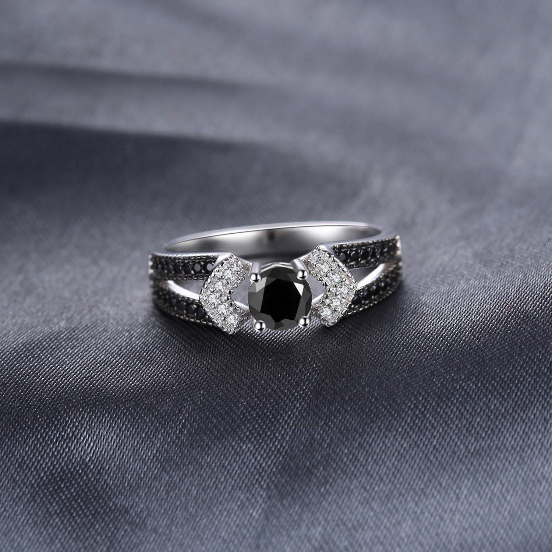 JewelryPalace /Él/égant 0.8ct Naturel Noir Spinelle Oxyde de Zirconium D/éclaration Bague Femme en Argent 925