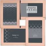 Innova Beautiful and Elegant Multi Opening Rose Gold Frame, 2 Horizontal and 2 Portrait 6x4 Photos. for Wall Hanging Or Standing, Made from Stainless Steel, Metal, 6 x 4-Inch