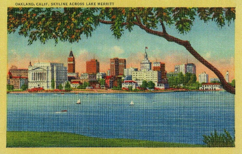 Skyline of Oakland across Lake Merritt - Vintage Halftone (9x12 Art Print, Wall Decor Travel Poster)