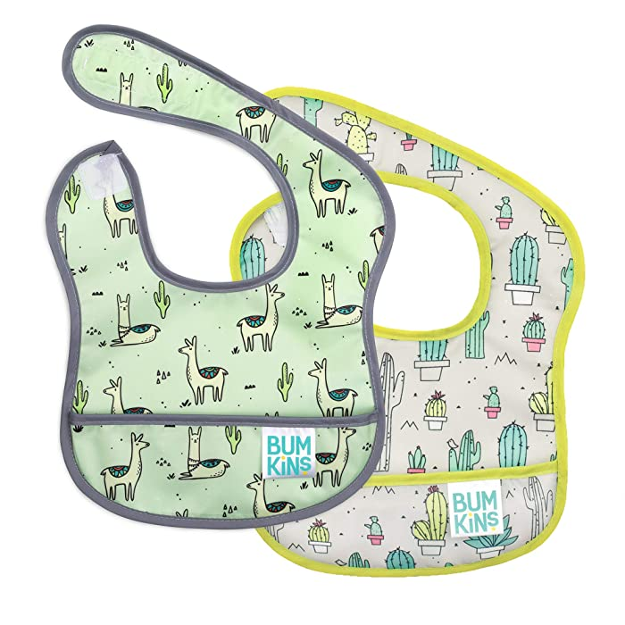 Bumkins Starter Bib, Baby Bib Infant, Waterproof, Washable, Stain and Odor Resistant, 3-9 Months, 2-Pack – Llama/Cactus