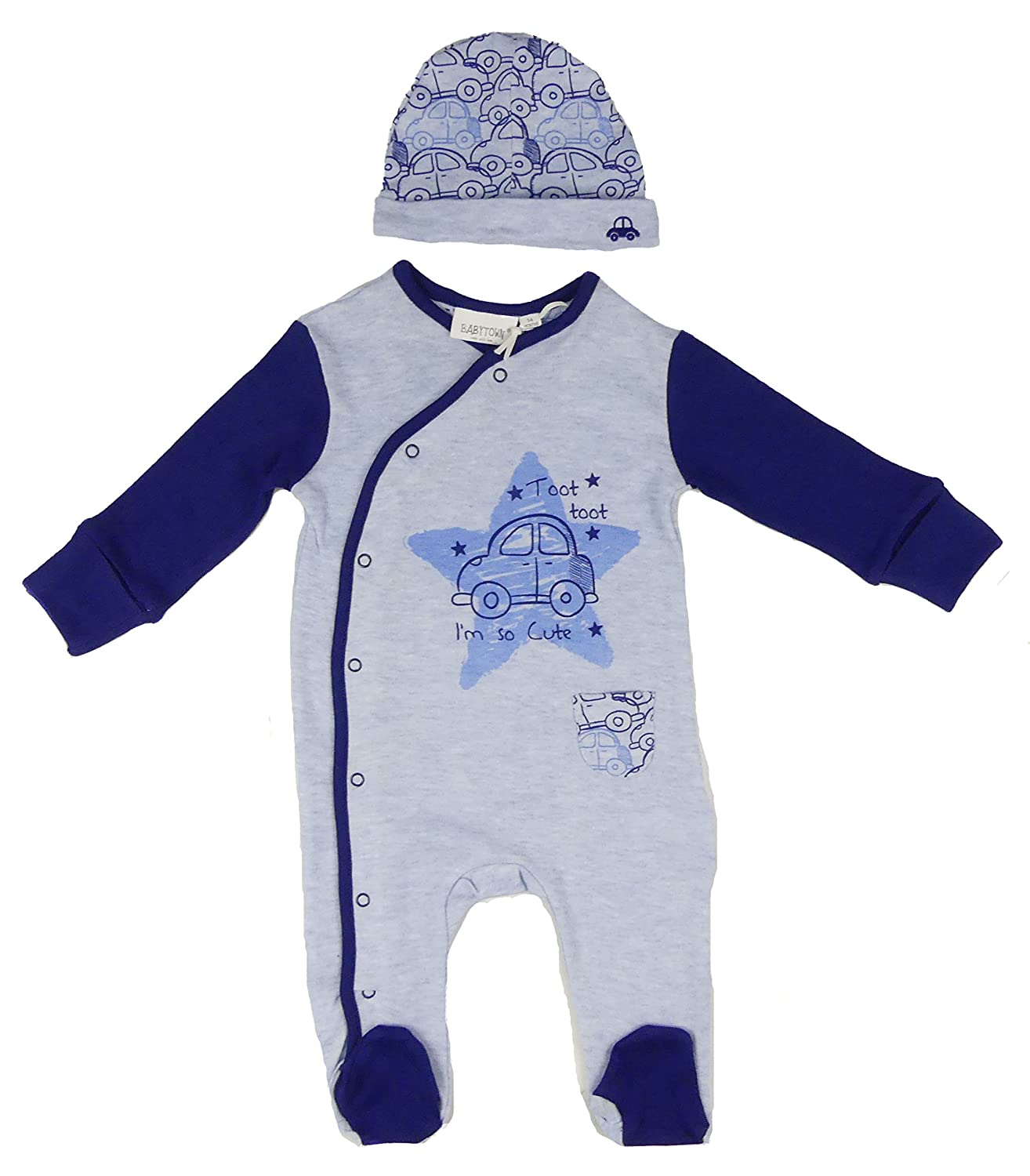BABY TOWN Baby Boys Car Sleepsuit and Hat Set Two Styles to Choose from NB to 9-12M