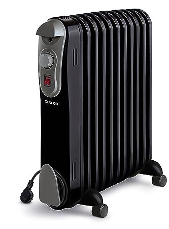 Sencor SOH 3111BK - Radiador eléctrico de aceite, funcionamiento silencioso 230 V, 50 Hz