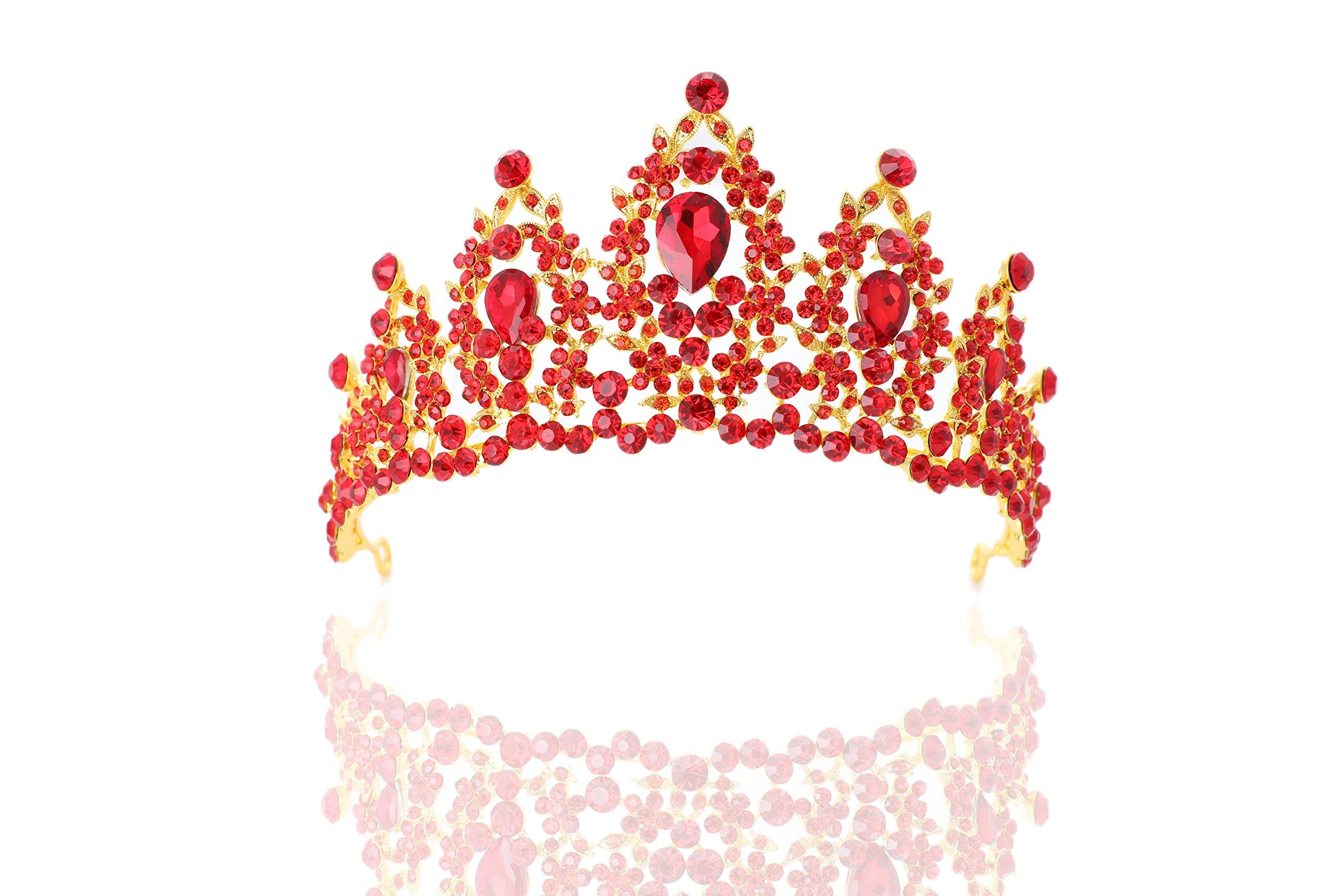 Chicer Baroque wedding Crown Tiara Queen Princess Vintage Rhinestone Tiara Accessories for Women and Girls(Red).