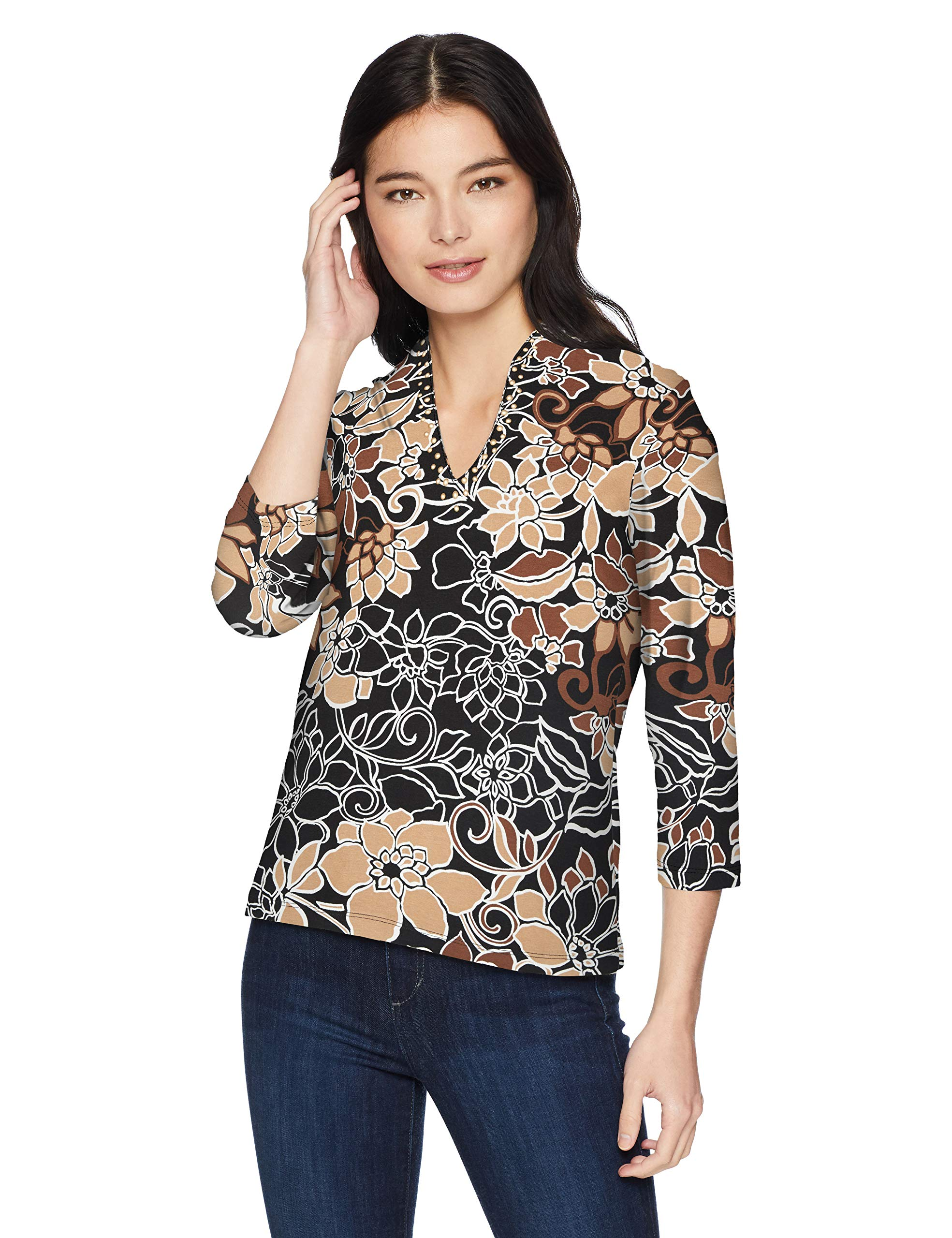 Ruby Rd. Women's Petite Size 3/4 Sleeve Funnel-Neck Floral Cotton Knit Top, Embellished Brandy Fall Floral, PL