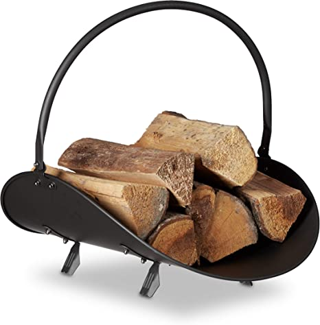 Fireplace Wooden Basket Black Genuine Leather Wood Carrying Basket Wood Basket Firewood Basket LUKAS