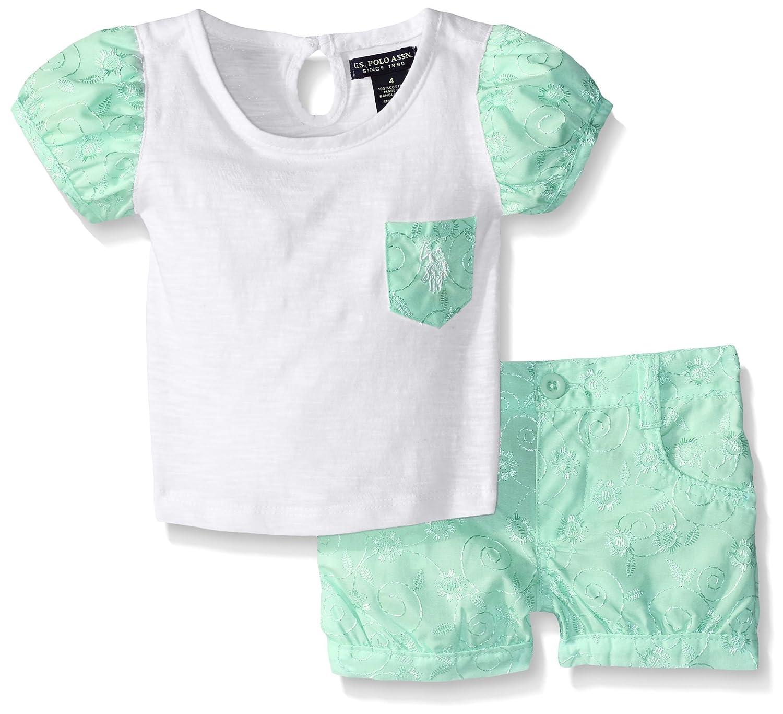 U.S. Polo Assn. Girls' T-Shirt with Eyelet Trim and Woven Eyelet Short US Polo Assn. Children' s Apparel