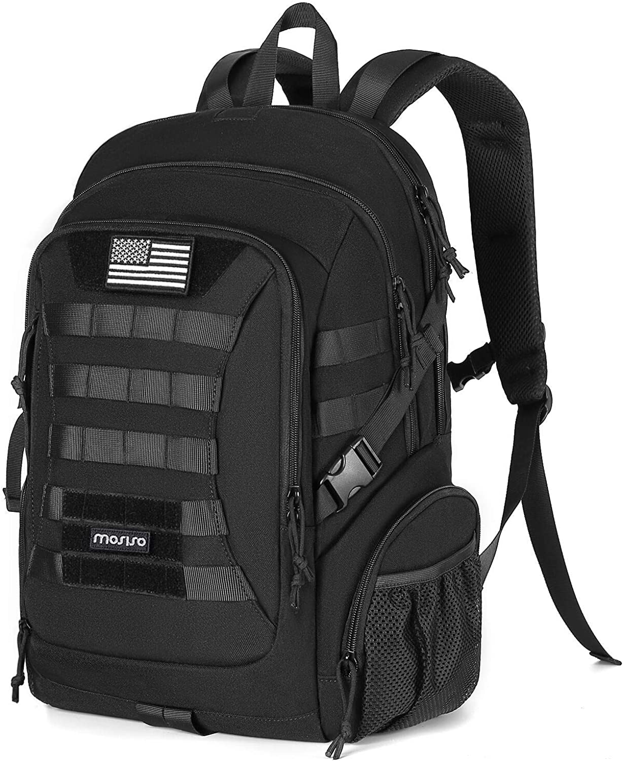 MOSISO Tactical Backpack, 2-Layer Multifuntional Large Molle Rucksack Daypack Adjustable Shoulder Back Pack Bag with Side Bottle Holder/USA Flag for Sport Outdoor Hiking Camping Training, Black