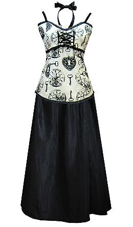 Cykxtees Funhouse Victorian Steampunk Gothic Clock Print Dress Camisole & Skirt Ivory Black ...