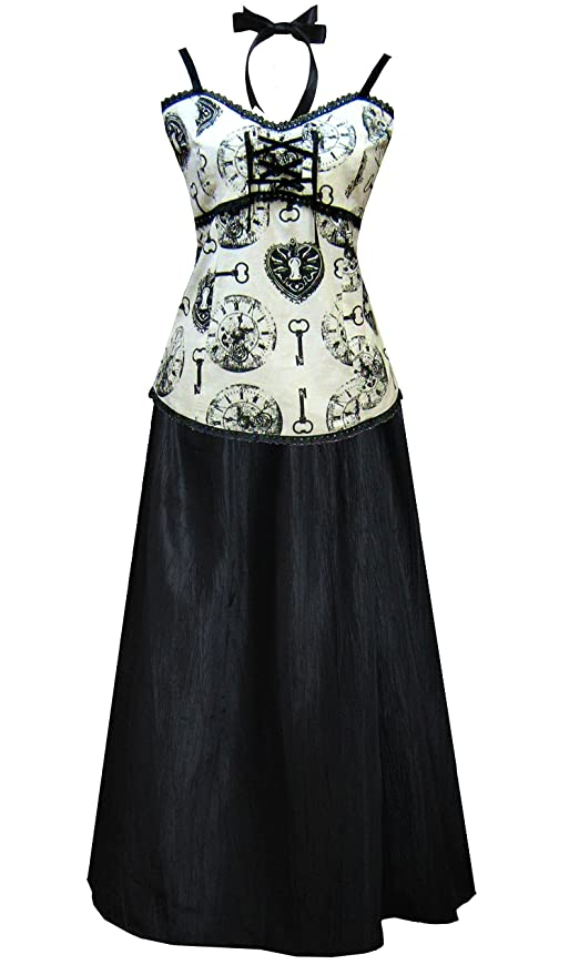 Steampunk Dresses and Costumes Victorian Steampunk Gothic Clock Print Dress Camisole & Skirt Ivory Black $83.00 AT vintagedancer.com