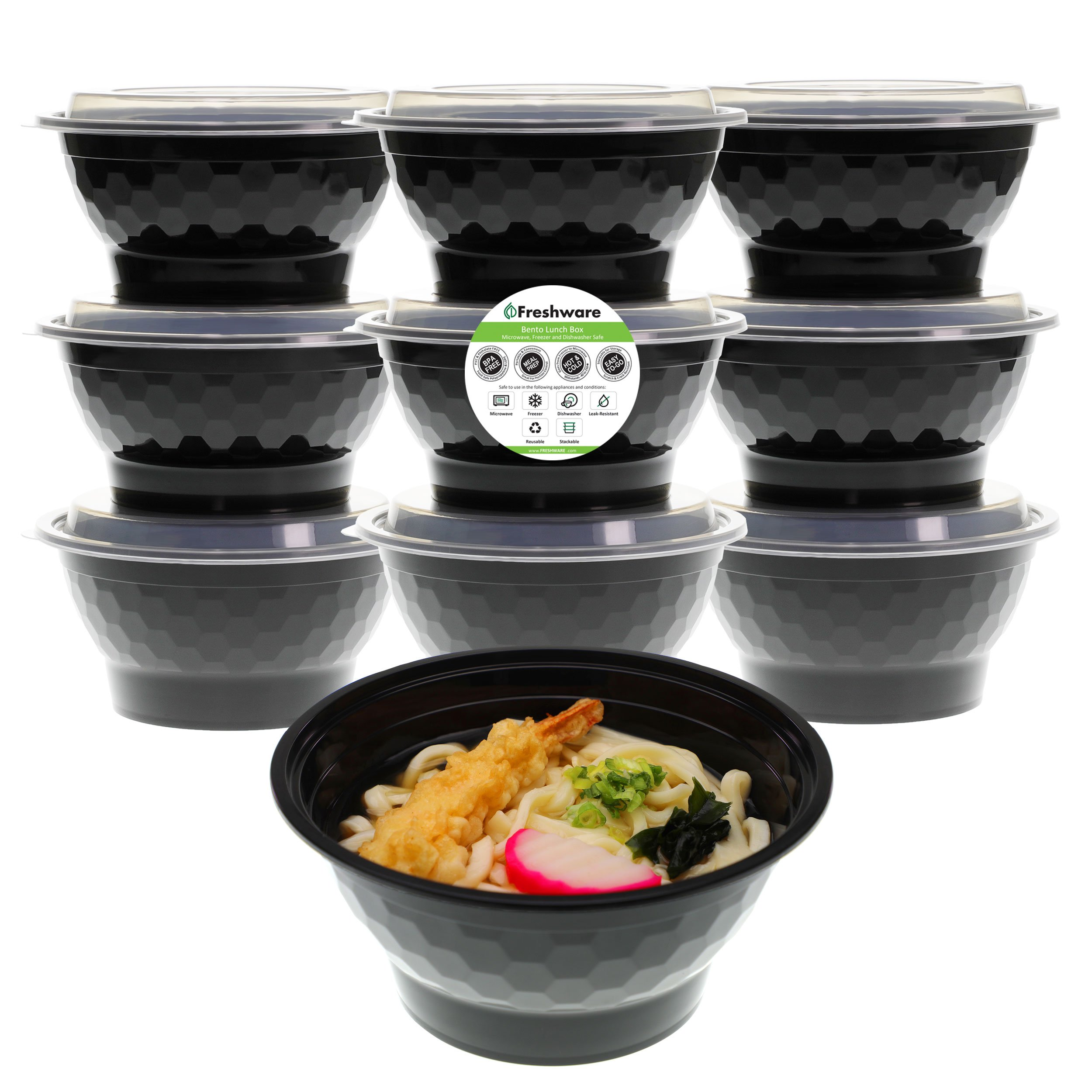 Freshware Meal Prep Containers [10 Pack] Bowls with Lids, Food Storage Bento Box | BPA Free | Stackable | Lunch Boxes, Microwave/Dishwasher/Freezer Safe, Portion Control, 21 day fix (42 oz) by Freshware