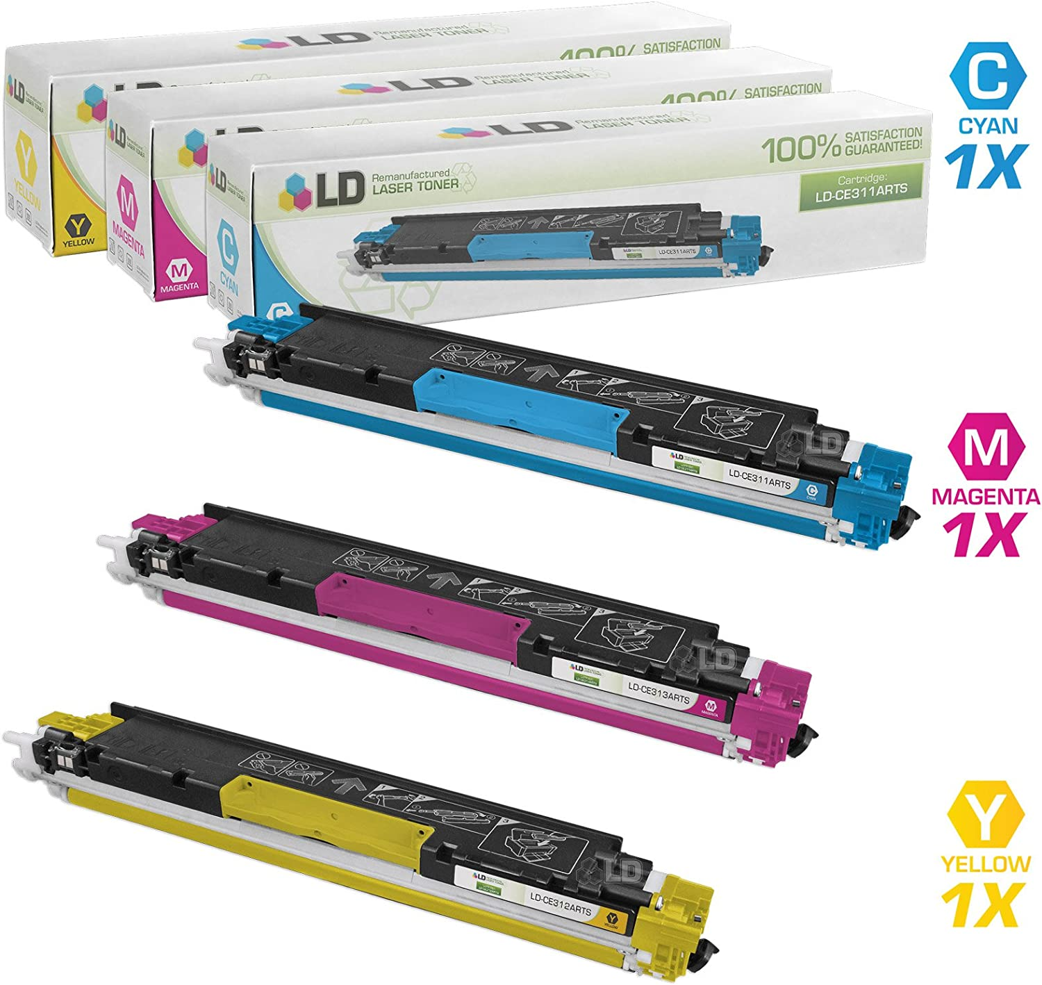 LD Remanufactured Toner Cartridge Replacement for HP 126A (Cyan, Magenta, Yellow, 3-Pack)