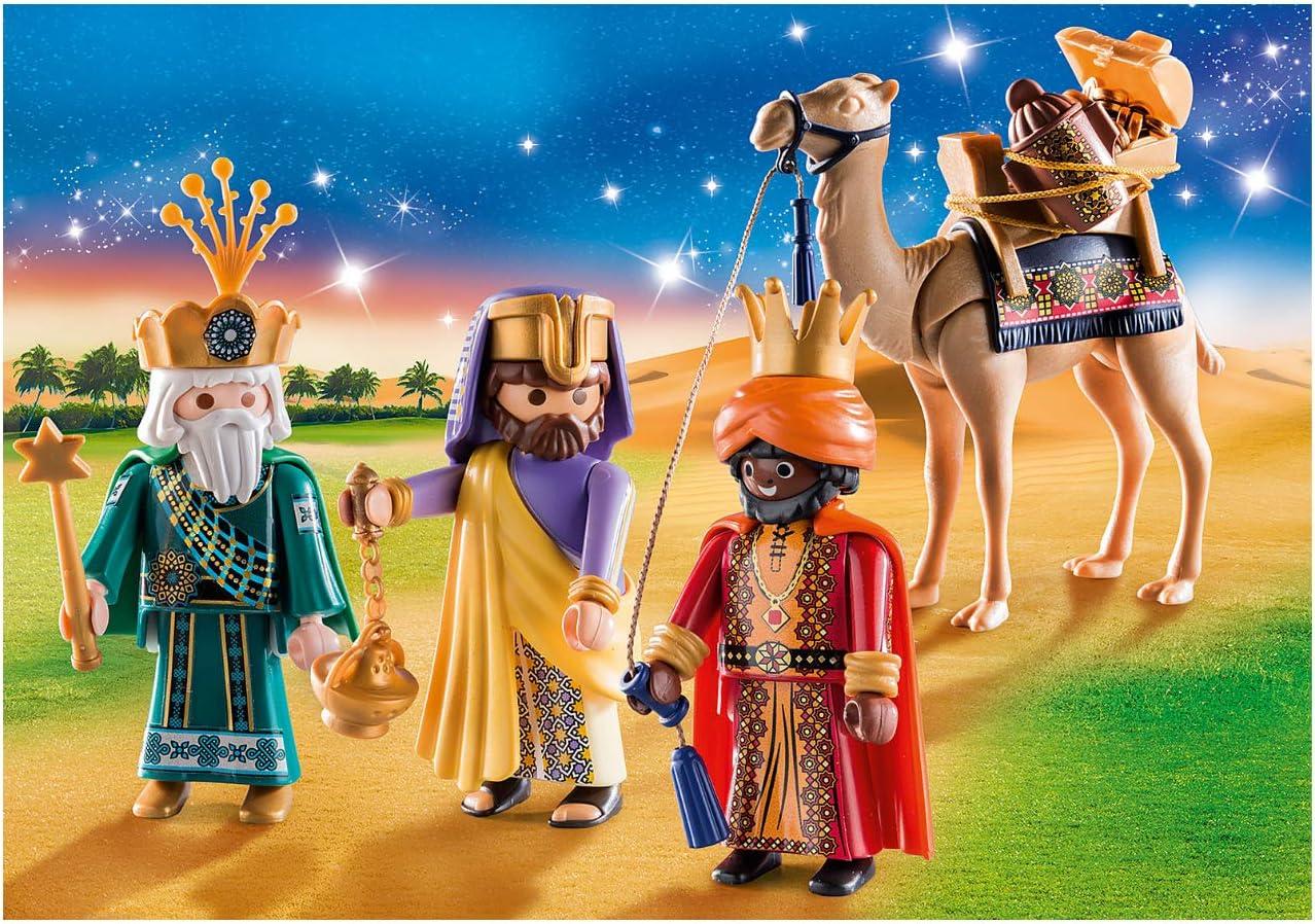 Outletdelocio. Conjunto Navidad Reyes Magos Playmobil con Camello y Regalos. 59 Piezas.