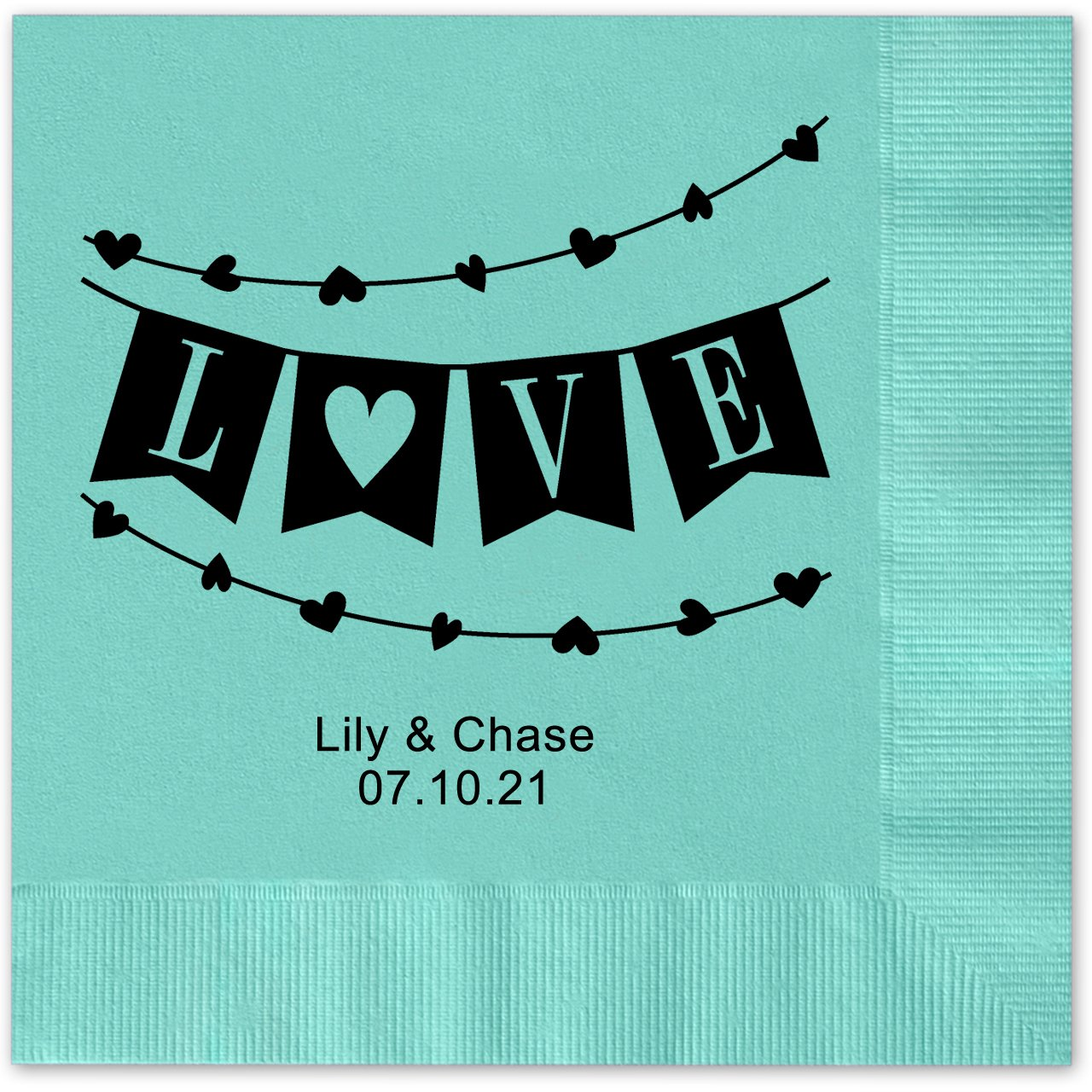 Banner Love Personalized Beverage Cocktail Napkins - 100 Custom Printed Aqua Paper Napkins with choice of foil