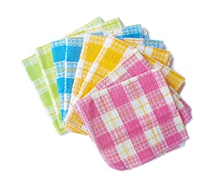 "Honla Cotton Windowpane Kitchen Dish Cloths,Set of 8 in 4 Assorted Color,13"" x 13"",Machine Washable"