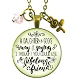 """24"""" Daughter Necklace A Daughter is God's Way of Saying Lifelong Friend Pendant Jewelry From Mother Rose Charm"""