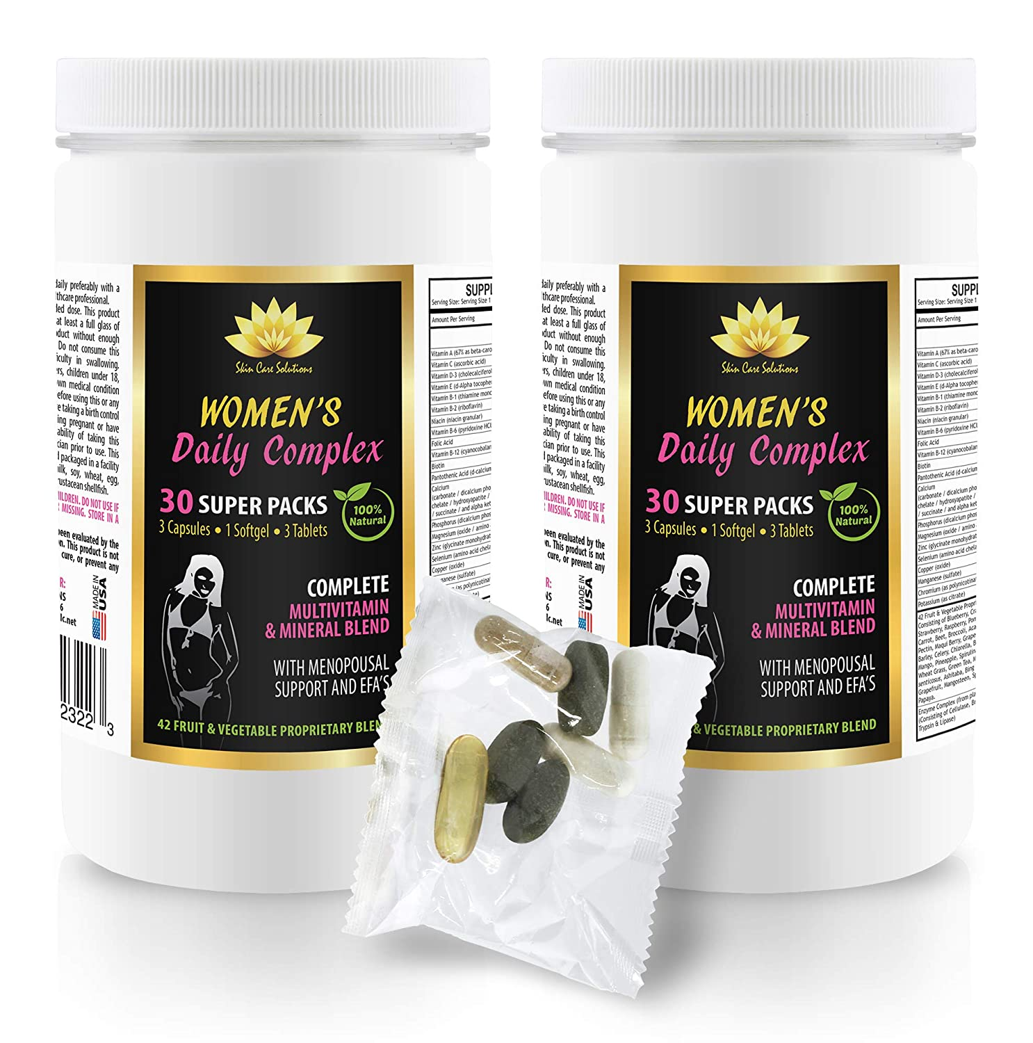 Women multivitamin - Women's Daily Complex - 100% Natural - echinacea with Vitamin c and zinc - 2 Cans 60 Packs (420 Pills)