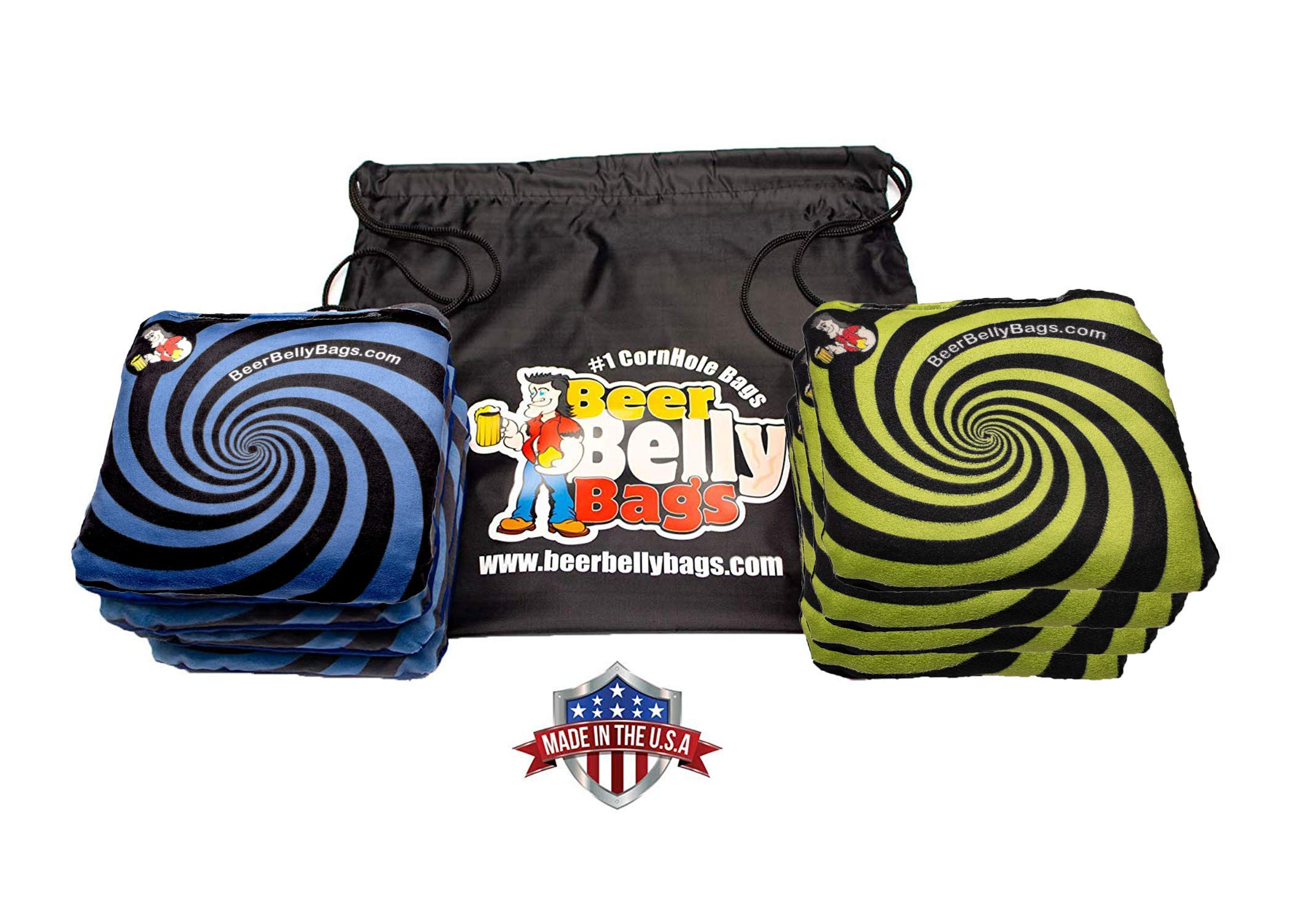 Beer Belly Bags Cornhole - Performance Series 8/pcs ACL Approved Resin Filled - Sticky Side | Slick Side (Blue/Green Spiral)