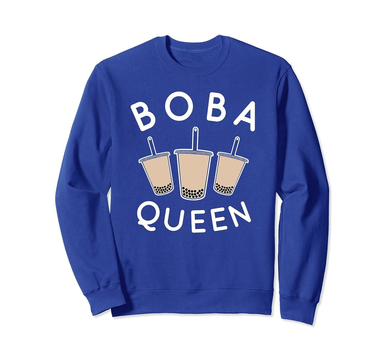 Boba Queen Sweatshirt, Fun Bubble Drink Tea Boba Apparel-TH