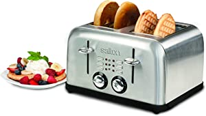 Salton ET1404 4-Slice Electronic Toaster, Brushed Metal