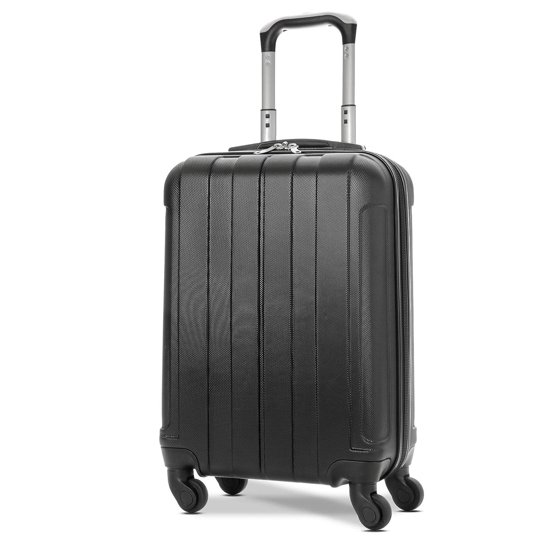 EONO Essentials ABS Bagage Cabine Bagage à Main Valise Rigide Légere à 4 Roulettes , Approuvées pour Ryanair , Easyjet , Air France , Lufthansa , Jet2 , Wizz Air et Plus , Noir
