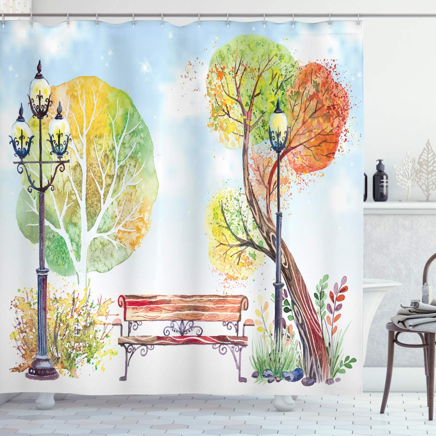 Ambesonne Lantern Shower Curtain, Colorful Fall Trees and Wooden Bench in The City Park with Blue Sky in The Autumn Season Artwork, Cloth Fabric Bathroom Decor Set with Hooks, 70