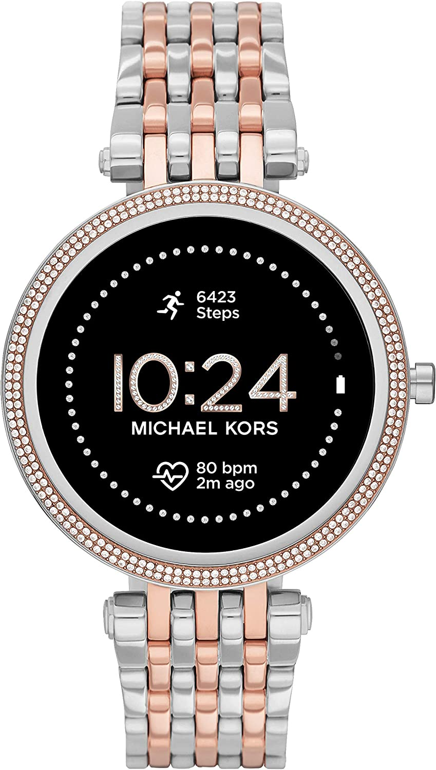 Michael Kors Women's Gen 5E 43mm Stainless Steel Touchscreen Smartwatch with Fitness Tracker, Heart Rate, Contactless Payments, and Smartphone Notifications.