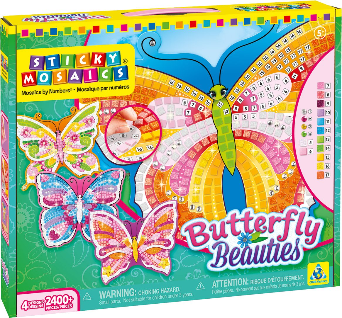 The Orb Factory Sticky Mosaics Butterfly Beauties Craft Kit 70625