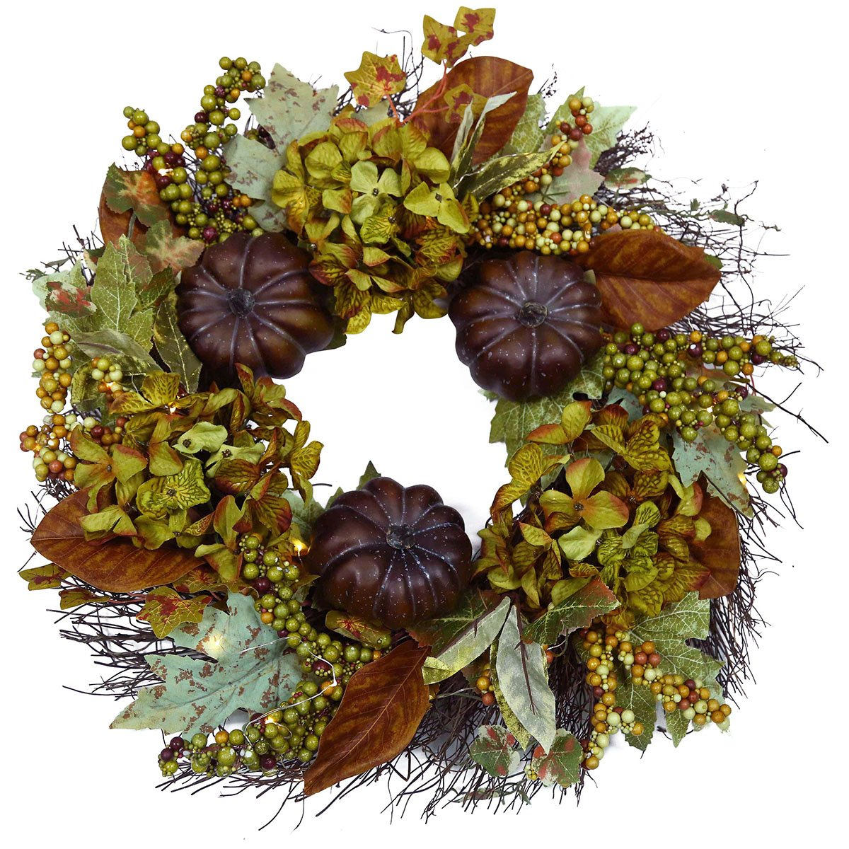 Kissfairy Artificial Outdoor Wreath With Lights 19 Inch Pumpkin Leaves Handcrafted Wreaths for Winter Home Decor, Green Front Door Wreath for Garden (Pumpkin Leaves 3)
