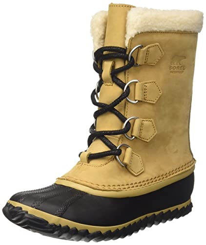 e81fa678a23 SOREL Womens Caribou Slim Nubuck Hiking Winter Mid Calf Waterproof Boots -  Curry Black -