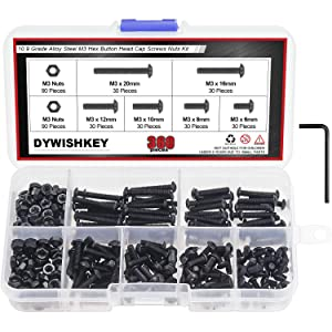 DYWISHKEY 360 Pieces M3 x 6mm/8mm/10mm/12mm/16mm/20mm, 10.9 Grade Alloy Steel Hex Button Head Cap Bolts Screws Nuts Kit with Hex Wrench