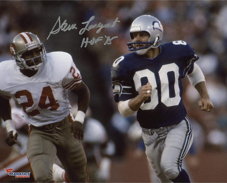 Steve Largent Seattle Seahawks Autographed 8' x 10' Blue Uniform Running Photograph with HOF 95 Inscription - Fanatics Authentic Certified