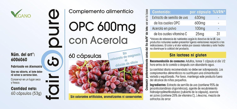 OPC con acerola - 60 cápsulas - extracto de uva con alta dosificación - vegetariano: Amazon.es: Salud y cuidado personal