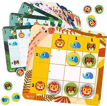 Nene Toys - Sudoku Infantil con 30 Coloridos Patrones - Puzzle Magnético de Viaje para Niños a Partir de 3 años con Colores y Animales - Rompecabezas Infantil Que Desarrolla Capacidades Cognitivas: