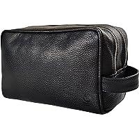 Genuine Leather Travel Toiletry Bag - Dopp Kit Travel Organizer By Rustic Town (Medium, Black)