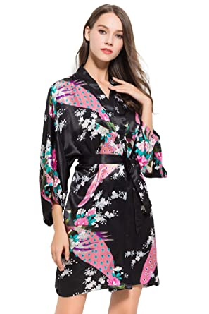 Fete Fabulous Gorgeous Satin Peacock Kimono Robe 46cfbd2ab